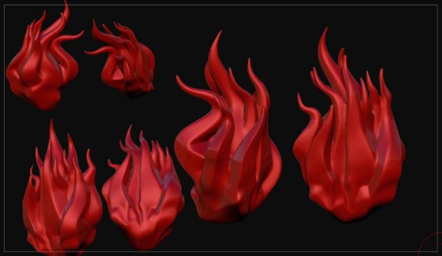 実写の炎を元に作った3Dモデル